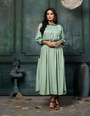 Sea Green Fancy Rayon Embroidered Anarkali Kurti