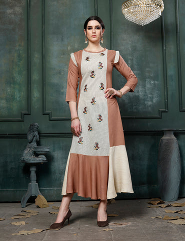 Multicolor Fancy Rayon Embroidered Anarkali Kurti