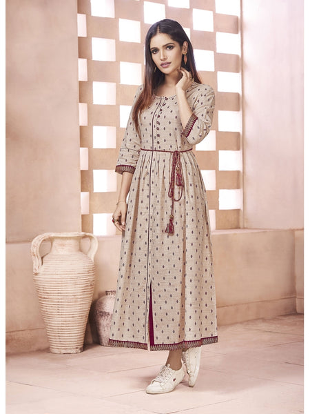 Designer Beige Color Anarkali Kurti