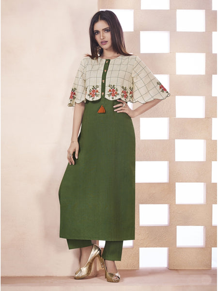 Designer Olive Green & Cream Color Anarkali Kurti
