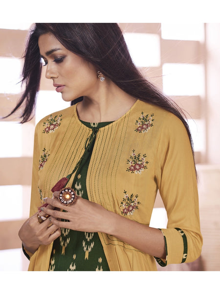 Designer Dark Green & Mustard Color Anarkali Kurti