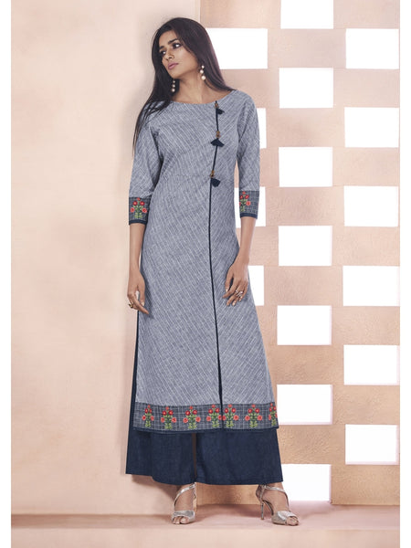 Designer Grey & Blue Color Anarkali Kurti