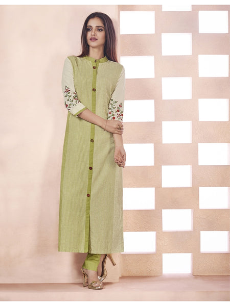 Designer Light Olive Green & Cream Color Anarkali Kurti