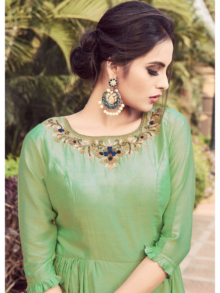 Designer Green Color Indo Western Kurti with Bottom Dress in Pure Silk