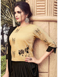 Designer Beige Color Indo Western Kurti Dress With Bottom