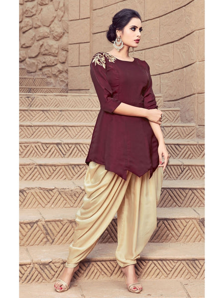 Designer Maroon Color Indo Western Kurti Dress with Bottom