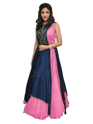 Over Layered Blue and Pink Color Gown With Real Images