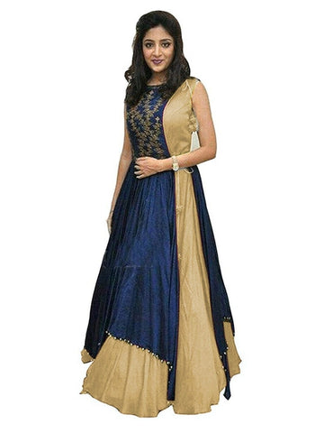 Over Layered Blue and Beige Color Gown With Real Images