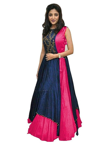 Over Layered Blue and Dark Pink Color Gown With Real Images