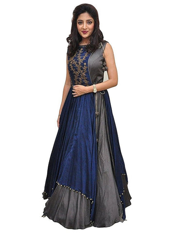 Over Layered Blue and Grey Color Gown With Real Images