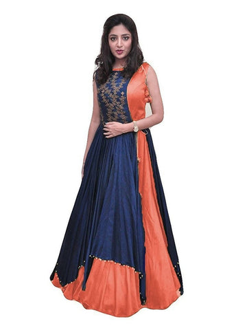 Over Layered Blue and Orange Color Gown With Real Images