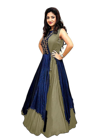 Over Layered Blue and Light Grey Color Gown With Real Images