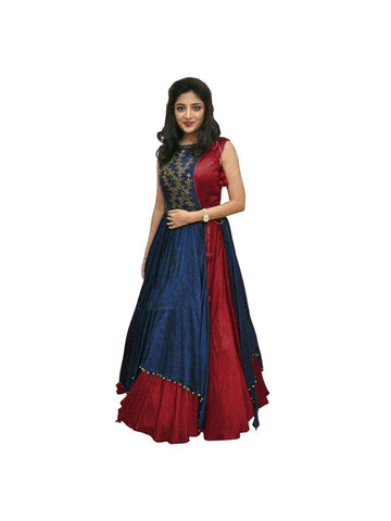 Over Layered Blue and Maroon Color Gown With Real Images