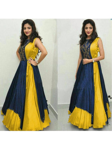 Over Layered Blue and Yellow Color Gown With Real Images