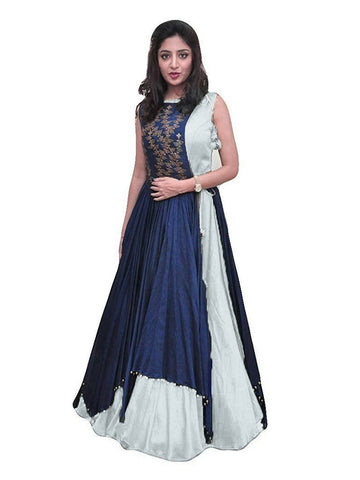 Over Layered Blue and White Color Gown With Real Images