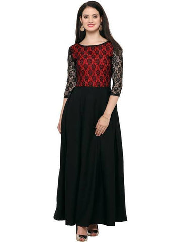 Empire Waist Black and Red Color Combination Gown