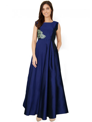 Premium Taffeta Dark Blue Color Gown with Real Images