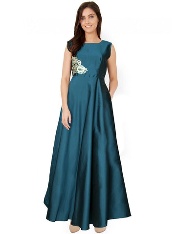 Premium Taffeta Sea Green Color Gown With Real Images