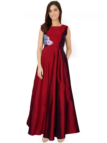 Premium Taffeta Red Color Gown with Real Images
