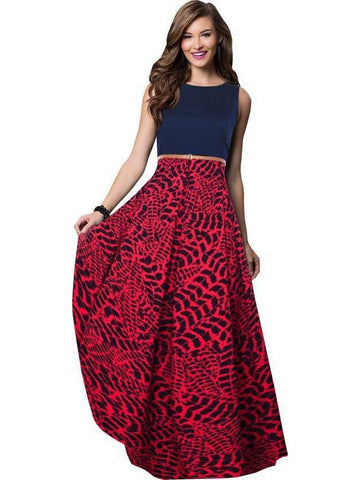 Stylish Blue and Red Color Empire Waist Gown
