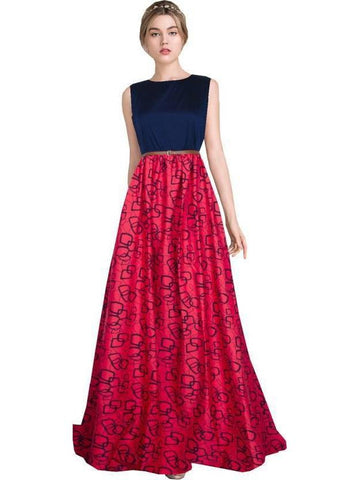 Stylish Blue nad Red Printed Empire Waist Gown