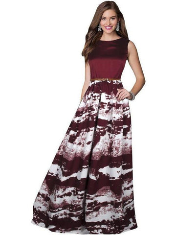 Stylish Maroon Color Printed Empire Waist Gown