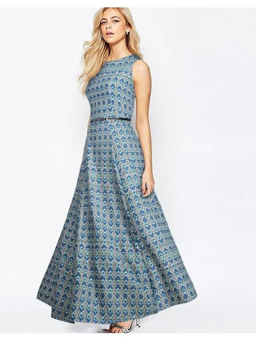 Trendy Blue Printed Empire Waist  Gown