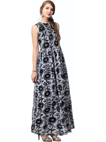 Trendy Black Floral Printed Empire Waist  Gown