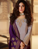 Grey Rangoli Georgette Embroidered Straight Cut Suit