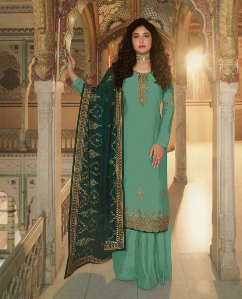Green Rangoli Georgette Embroidered Straight Cut Suit
