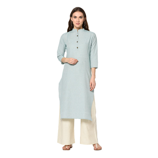 Sky Blue South Cotton Printed Straight Cut Kurti