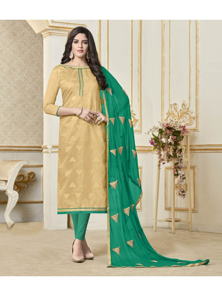 Designer Beige Color Embroidered Banarasi Jacquard  Straight Cut Suit