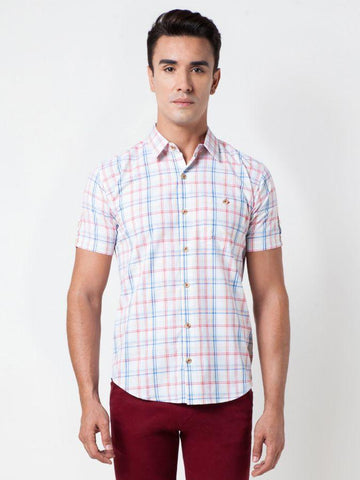 Checked Cotton Red Formal Shirt