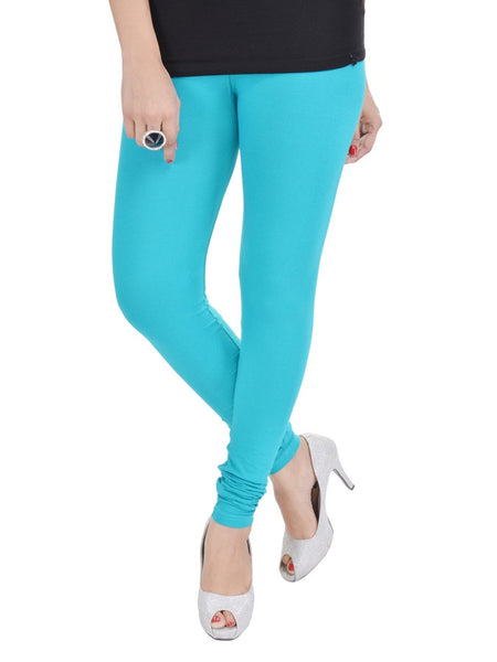 Sky Blue Cotton Lycra Leggings - PurpleTulsi.com  - 1