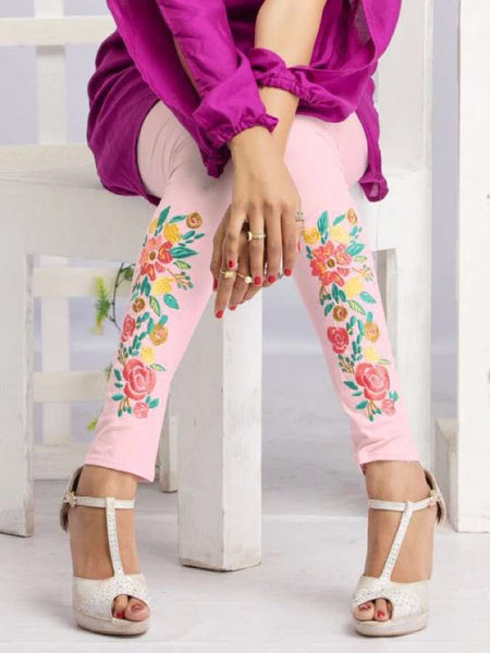 Light Pink Embroidered Leggings - PurpleTulsi.com  - 1