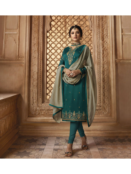 Designer and Beautiful Blue Color Straight Cut Suit
