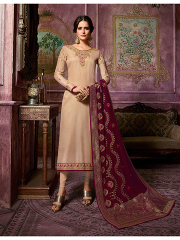Designer and Beautiful Beige Color Straight Cut Suit