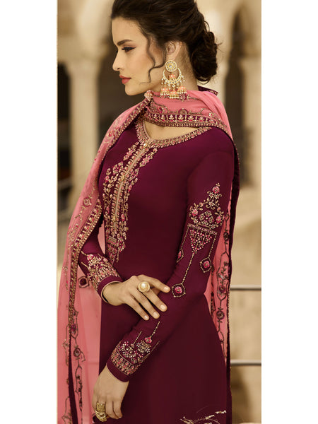 Designer and Beautiful Maroon Color Straight Cut Suit