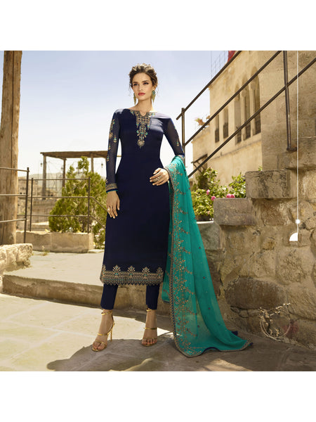 Designer and Beautiful Navy Blue Color Straight Cut Suit