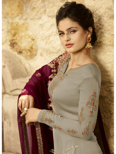 Designer and Beautiful Grey Color Straight Cut Suit