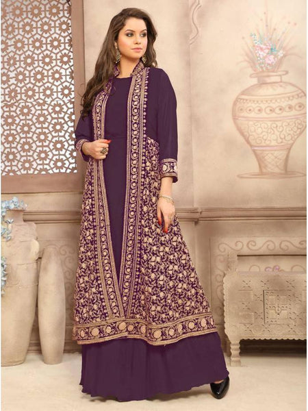 Designer Partywear Purple Color Georgette Anarkali Suits