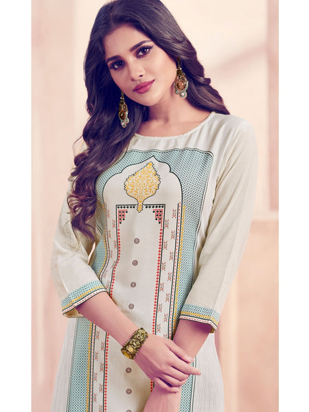 Designer Off White Color Straight Cut Kurti with Bottom