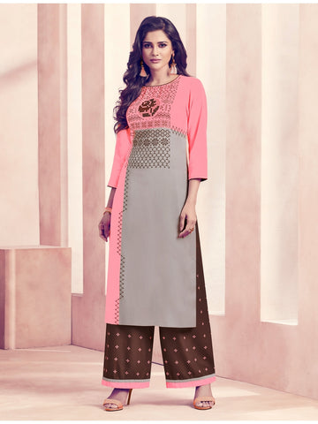 Designer Pink & Grey Color Straight Cut Kurti with Bottom