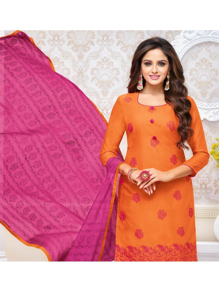 Designer and Beautiful Orange Color Straight Cut Suit
