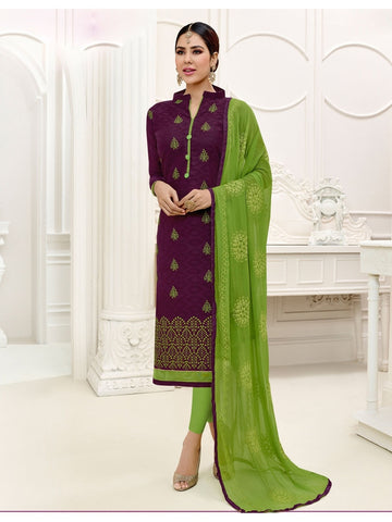 Embroidered Straight Cut Suit in Brown Color  With Chiffon Dupatta