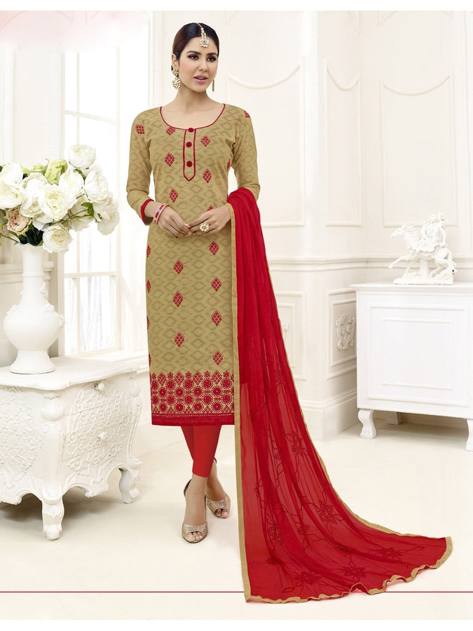 Embroidered Straight Cut Suit in Beige Color  With Chiffon Dupatta