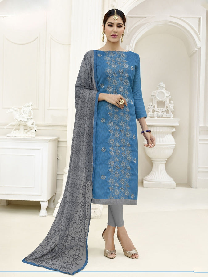 Embroidered Straight Cut Suit in Sky Blue Color  With Chiffon Dupatta