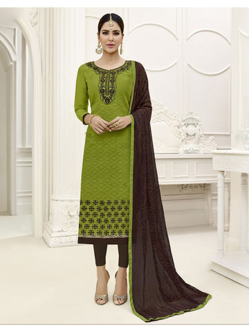 Embroidered Straight Cut Suit in Mehandi Color  With Chiffon Dupatta
