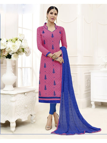 Embroidered Straight Cut Suit in Pink Color  With Chiffon Dupatta