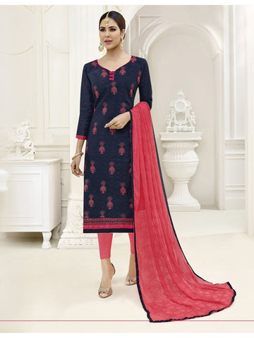 Embroidered Straight Cut Suit in Blue Color  With Chiffon Dupatta